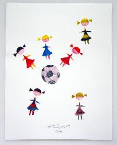 grafik zeichnung frauen spielen Fußball lusik Grafik Kunstdruck