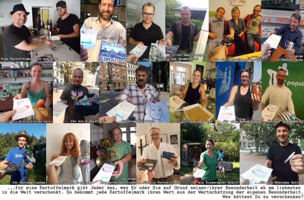 Künstler bezahlt Dinge mit seinem selbstgedruckten Geld Kartoffelgeld
