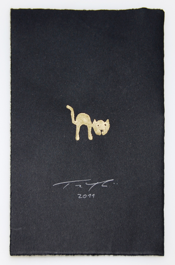 Katze grafik zeichnung bild mit goldpigment
