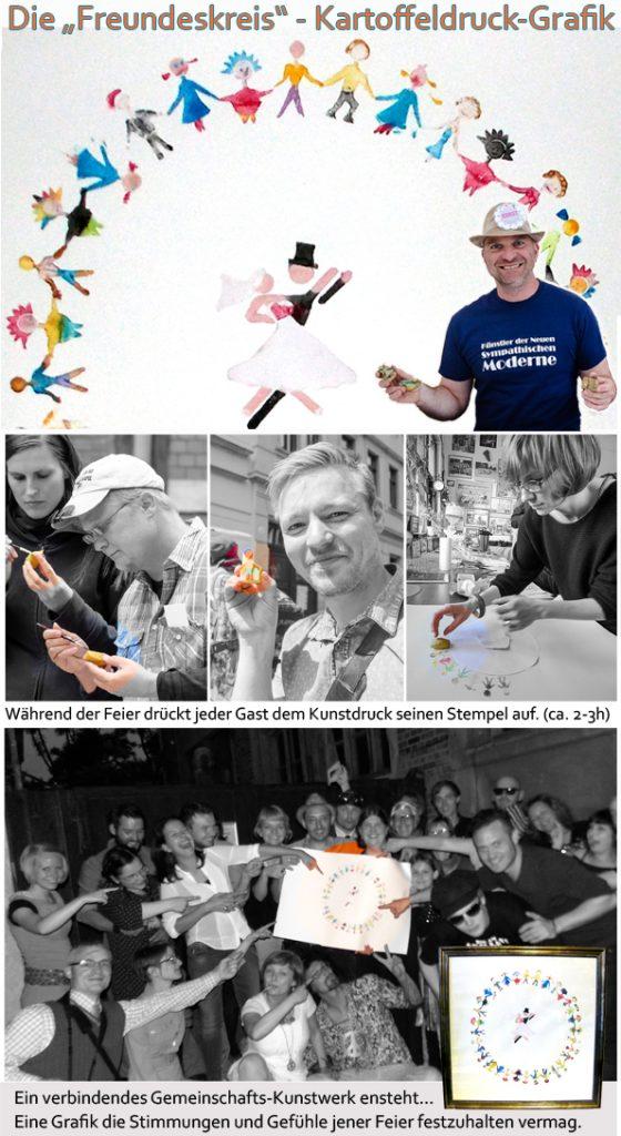 Kartoffeldruck seminar kunstseminar Hochzeitsevent Hochzeitsspiel kreatives Gestalten gemeinsam ein Bild Kunstwerk schaffen bunt lustig