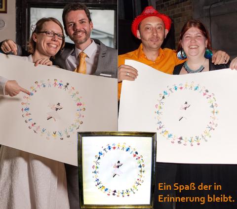 hochzeitsbild freundeskreis-grafik Hochzeitsevent Hochzeitsspiel kreatives Gestalten gemeinsam ein Bild Kunstwerk schaffen bunt lustig