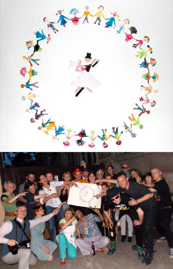 Hochzeitsevent Hochzeitsspiel kreatives Gestalten gemeinsam ein Bild Kunstwerk schaffen bunt lustig