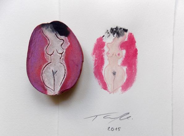 Kunstdruck mit Kartoffelstempel kartoffel Druckgrafik akt