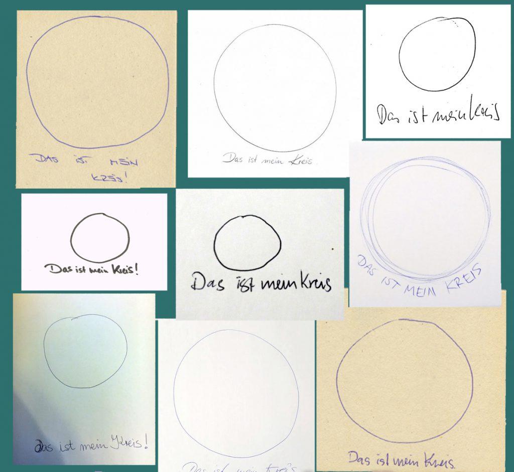 Kreise geziechnet stift auf Papier experiment jeder zeichnet einen Kreis