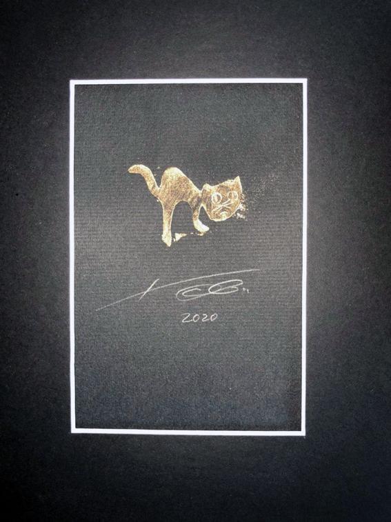 Preibisch Kartoffeldruck Grafik Kunst Künstler Katze niedlich Kunstwerk zeichnung
