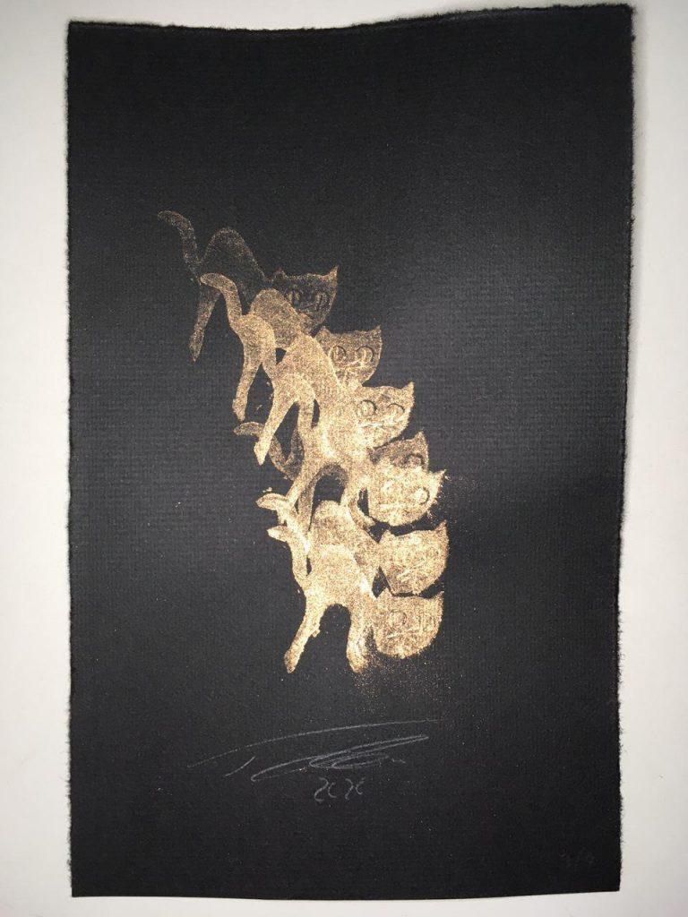 Kartoffeldruck gold auf Papier gestempelt Kartoffel