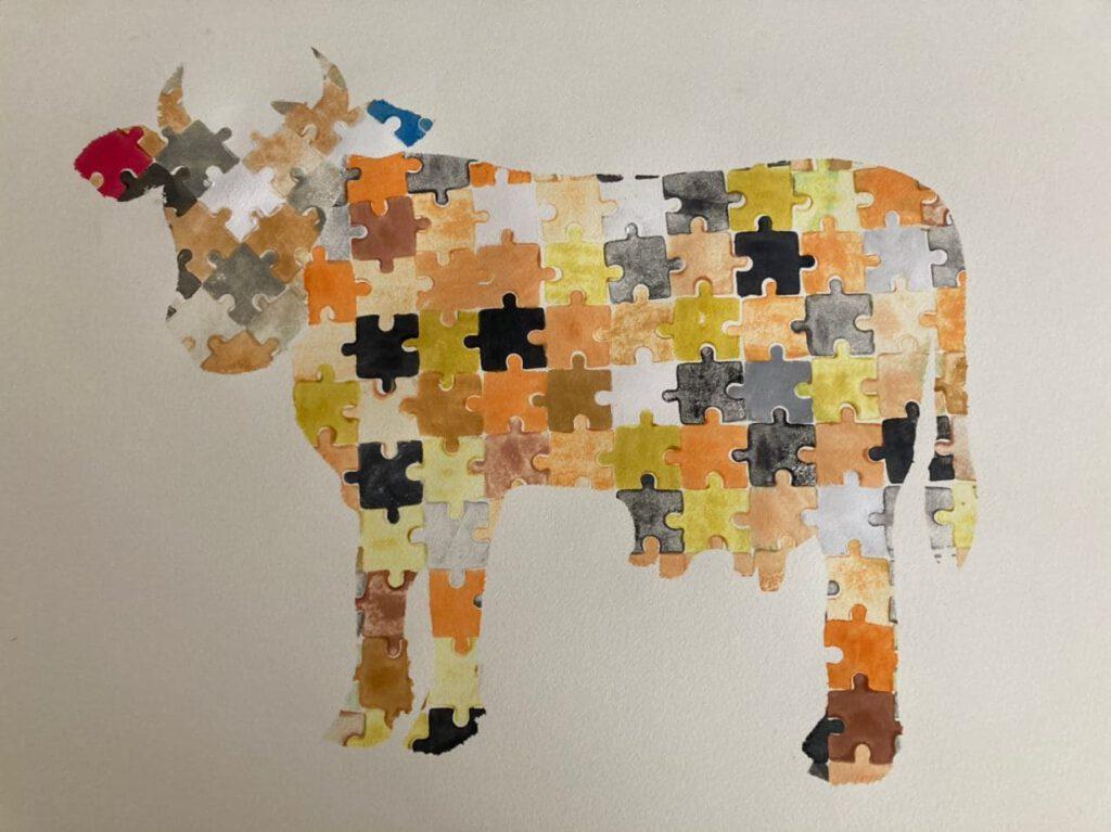 aktionskunst soziale Plastik Kuh Puzzlekuh